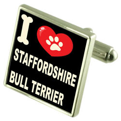 Silver 925 Cufflinks & Bond Money Clip - I Love Staffordshire Bull Terrier