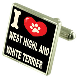 Silver 925 Cufflinks & Bond Money Clip - I Love West Highl & White Terrier