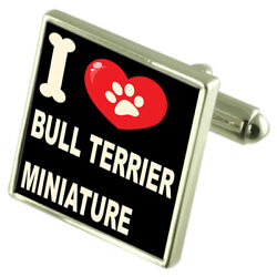 Silver 925 Cufflinks & Bond Money Clip - I Love Bull Terrier Miniature