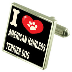 Silver 925 Cufflinks & Bond Money Clip - I Love American Hairless Terrier