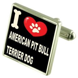Silver 925 Cufflinks & Bond Money Clip - I Love American Pit Bull Terrier