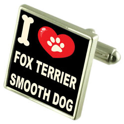 Silver 925 Cufflinks & Bond Money Clip - I Love Fox Terrier Smooth