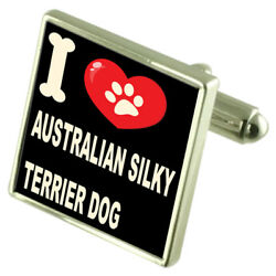 Silver 925 Cufflinks & Bond Money Clip - I Love Australian Silky Terrier
