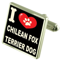 Silver 925 Cufflinks & Bond Money Clip - I Love Chilean Fox Terrier