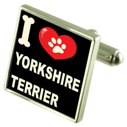 Silver 925 Cufflinks & Bond Money Clip - I Love Yorkshire Terrier