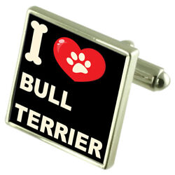 Silver 925 Cufflinks & Bond Money Clip - I Love Bull Terrier