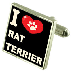 Silver 925 Cufflinks & Bond Money Clip - I Love Rat Terrier