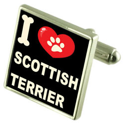 Silver 925 Cufflinks & Bond Money Clip - I Love Scottish Terrier