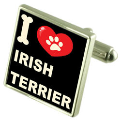 Silver 925 Cufflinks & Bond Money Clip - I Love Irish Terrier