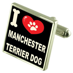 Silver 925 Cufflinks & Bond Money Clip - I Love Manchester Terrier