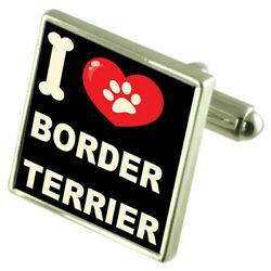 Silver 925 Cufflinks & Bond Money Clip - I Love Border Terrier
