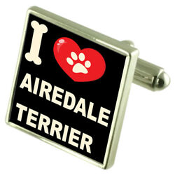 Silver 925 Cufflinks & Bond Money Clip - I Love Airedale Terrier