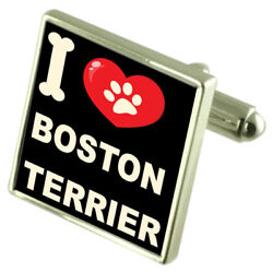 Silver 925 Cufflinks & Bond Money Clip - I Love Boston Terrier