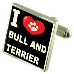 Silver 925 Cufflinks & Bond Money Clip - I Love Bull & Terrier