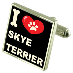 Silver 925 Cufflinks & Bond Money Clip - I Love Skye Terrier