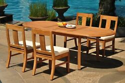 Dsos A-grade Teak 5pc Dining Set 94 Oval Table 4 Armless Chair Outdoor Patio