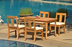 Dsos A-grade Teak 5pc Dining Set 60 Rectangle Table 4 Armless Chair Outdoor