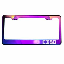 Polish Neo Neon Chrome License Plate Frame C350 Laser Etched Metal Screw Cap