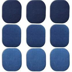 9PCS Large Iron on Patches for Jeans Premium Quality Denim No-Sew Shades of Blue