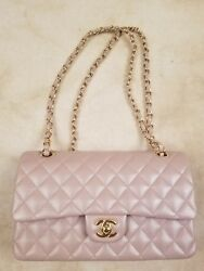 Authentic CHANEL Light Pink Lambskin Quilted Leather Medium Classic Flap Bag
