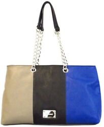 Nine West Designer Bags Sassa Satchel Paris Mushroon Black Diva Blue $26.95