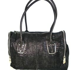 B. Makowsky Designer Women's Large Black Iridescent Leather Satchel Bag Purse