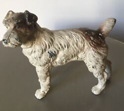 Painted Metal Terrier Dog Figurine Antique Vintage 3 12