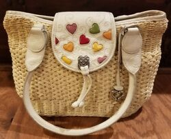NICE Womens Designer BRIGHTON Straw HEART Purse RARE Leather SHOULDER Bag SUMMER