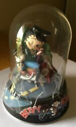 Betty Boop Hand Painted Sculpture 1997 Limited Edition Dome Glass Case And Stand