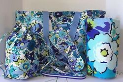 Vera Bradley Family ToteBeach TowelFlip Flops(M) & Ditty Bag Blueberry Blooms
