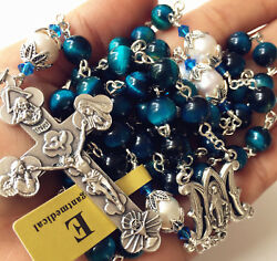 Peacock Bule Tiger Eye Beads And Real Pearl Rosary Cross Necklace Catholic Gifts