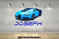 Bugatti Chiron Hypercar Personalised Name Childrens Wall Stickers Transfer Decal