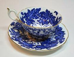 Vintage Coalport Bone China England Blue Leaves Set Footed Cup And Saucer 4891a