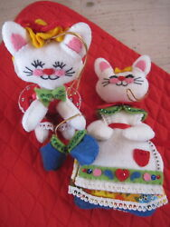2 Plush Felt White Kitty Cat Christmas Ornaments Vintage Beaded Sequined