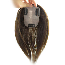 Women Mono Straight Hair Clip In Hairpiece Top Human Toupee Hair Piece Topper