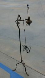 Wrought Iron Arts And Crafts Twisted Three Footed Adjustable Floor Lamp