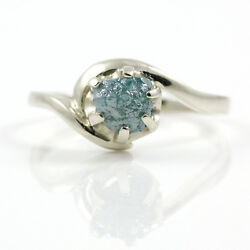 14K SOLID Gold Engagement Ring - 1.0 Carat Blue Raw Rough Diamond Ring SIZE 4-10
