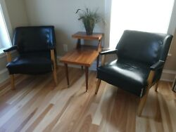 Mid-century Club Chairs, Art Deco Retro Lounge Chairs, Black Patent Leather