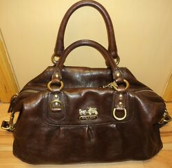 HTFRARE! XL Coach BROWN LEATHER MADISON SABRINA 2-WAY Leather #12949P PILOT BAG