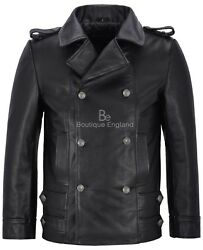 Menand039s German Leather Coat Black Classic Ww2 Studded Punk Rock 100 Cowhide 8971