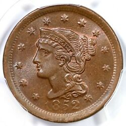 1852 N-22 Pcgs Ms 65+ Bn Cac Braided Hair Large Cent Coin 1c