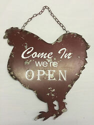 Farm Chicken Rooster Open Closed Retro Hanging Sign Vintage Farmhouse Style