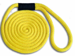 Solid Braid Nylon Dock Line 3/8 X 20and039 - Floats Made In Usa / Yellow