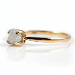 14K Rose SOLID Gold Ring with White Raw Rough Diamond Conflict Free - SIZE 4-10