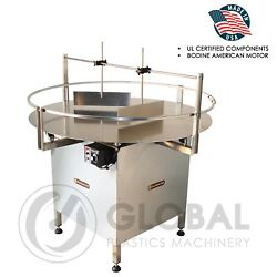 Globaltek Stainless Steel 48 Dia. Unscrambler Rotary Turn Table Fully Enclosed