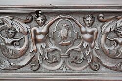 Exceptionnal Large 17th.c Hand Carved Wood Panel Pediment Wedding Trunk