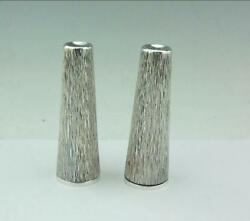 Super Mid Century Hand Textured Bark Effect Solid Silver Salt And Pepper 1983