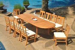 Dsos A-grade Teak 11pc Dining Set 118 Oval Table 10 Armless Chair Outdoor Patio