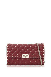 Valentino Garavani Rockstud Spike Chain Clutch (Red; Lambskin Leather)