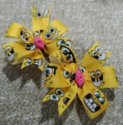 3inches Set of 2 Sponge Bob Pin Wheel Hair bow Alligator Clip handmade